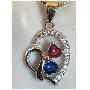 Jewelry - 1.8ct Ruby & Blue/White Sapphire Heart Pendant
